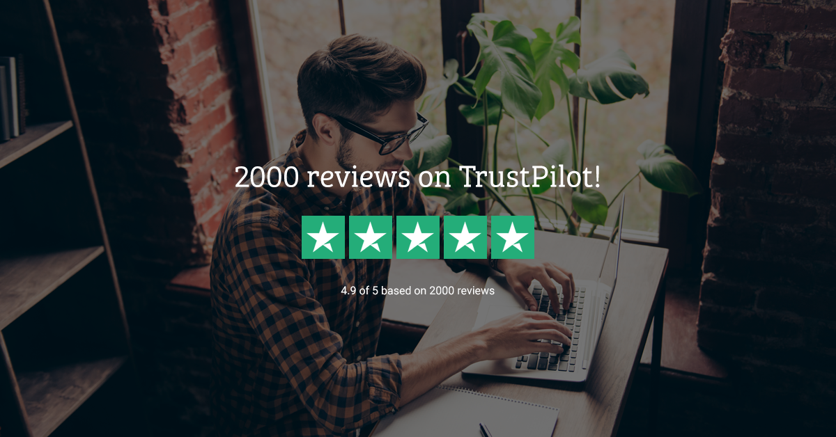 2000 reviews on TrustPilot